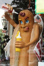 Harry the fiberglass hotdog at Gibson's (703 Hinton Avenue) He was once kidnapped from his previous location in Earlysville, later found 'buried alive' his arms had been broken off and his shoelaces were stolen - the local community of Earlysville raised $2,000 to restore him