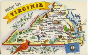 Postcard. Virginia. Nickname-Old Dominion.1960 Population-3,966,949. 39,893 Sq.miles. Entered the Union, JUne 25, 1788
