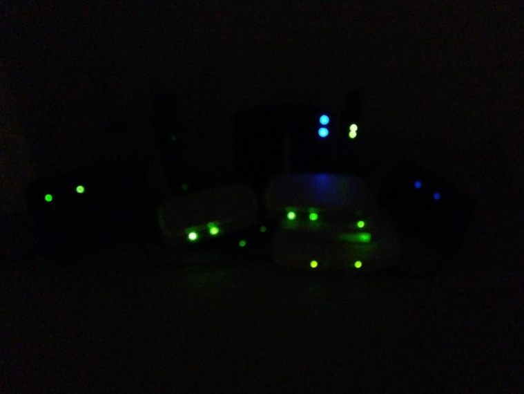routers in dark with lights