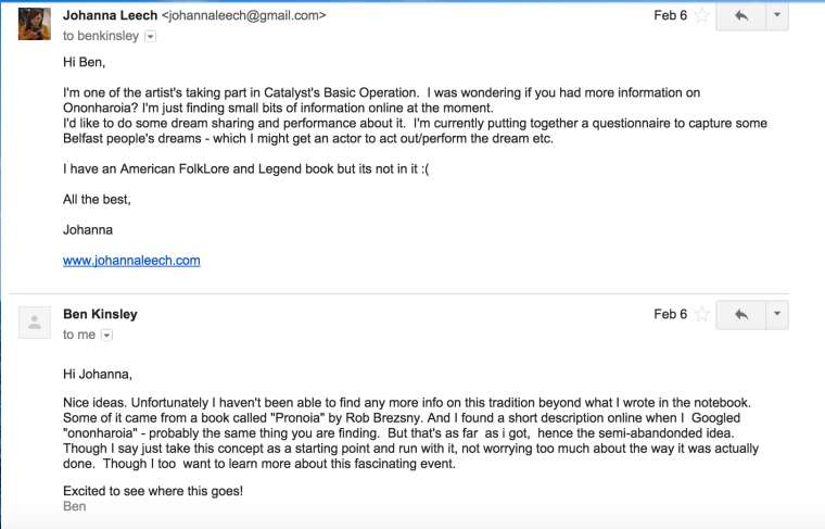 Screen Shot Johanna and Ben K emails 1